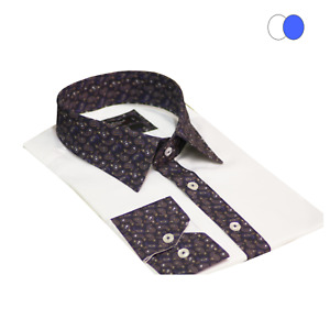 Printed Cuff and Button Line High Collar Long Sleeve Men's Shirt Slim Fit