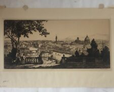 Sidney Tushingham etching Italy Florence View From Piazza Michelangelo