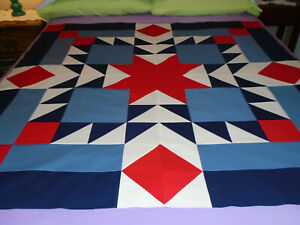 """new quilt TOP unfinished AZTEC STAR """"Faded Love"""" 48.5"""" Blue/Slate Blue/Red/Cream"""