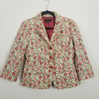 Talbots Womens Size Pink Floral Tapestry 3/4 Sleeve Button Front  Blazer Jacket