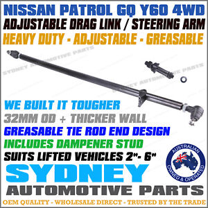 ADJUSTABLE GREASABLE HD Front Drag Link with Tie Rod Ends NISSAN PATROL GQ Y60
