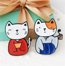 Kawii Cute Collar Badges Jewelry 2pcs 1 Pair Japanese Kimono Cats Brooch Pins