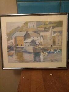Vintage Original Watercolor Of Polperro Harbour Signed