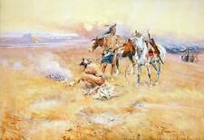 Blackfeet burning Crow Buffalo Range by  Charles M Russell