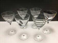 LSA JAZZ Wine Glasses / Goblets - Assorted Black - Set of 6 - MINT cond.