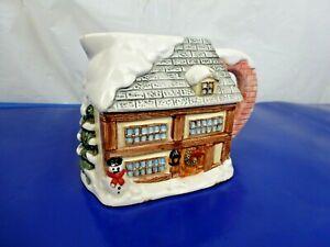 Western House The Village Winter Cottage Jug Annie Rowe Fine Ceramic Christmas