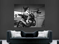 SEXY HOT GIRL MOTORBIKE HELICOPTER POSTER BIKE  ART LARGE HUGE GIANT PRINT