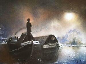 Pete Tuffrey Artist Framed Postcard Print Canal Narrow Boat
