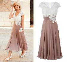 Plus Mother of the Bride Groom Wedding Dresses Tea-length Lace Formal Party Gown