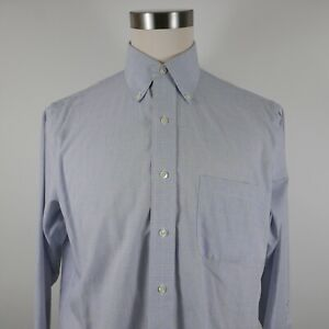 Brooks Brothers Mens Non Iron Traditional Fit LS Button Up Blue Plaid Shirt 15.5