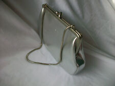 Lady Evening Bag Silver Clutch Small Handbag Purse Clasp Chain Strap VTG Germany