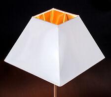 Lampenschirm Weiss Gold für Tisch Und Stehleuchten  Eckig Quadratisch Pyramide