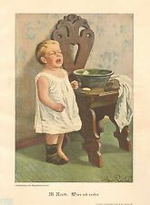 Baby Boy Crying, Wants His Bath, Wars Not Over Vintage 1899 German Antique Print
