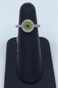 Gabriel & Co 14K White Gold Peridot and 0.15 Ct Diamond Halo Ring