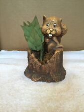New listing Vintage Cap 1980 Wood Look Smiling Squirrel On Stump Planter