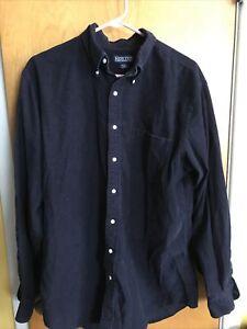 Land's End Men's LT 16.5 Blue Corduroy Long Sleeve Button Down Shirt