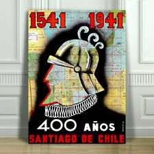 VINTAGE TRAVEL CANVAS ART PRINT POSTER - Santiago Chile 400 Anos -24x18""