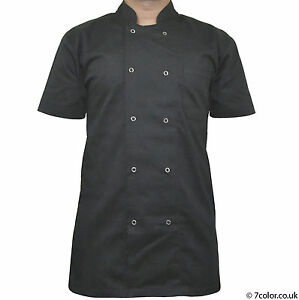 Chef Apparel Unisex Short/ Long Sleeve Black Chef Jacket coat Visible Button