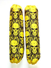 Shock Protector Covers Arctic Cat Sled Yellow Skulls Snowmobile Set 2