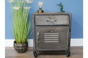 Vintage Industrial Cabinet Retro Locker Style Bedside Cabinet 7473