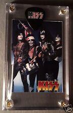 Great Looking KISS rarer promo only card & flag logo guitar pick display!!!