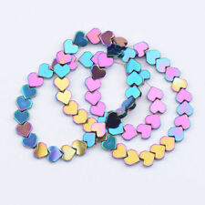 Natural Gemstone Hematite Heart Bracelet Connector Charm Spacer Beads 6MM 8MM