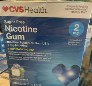 CVS Health Sugar Free Nicotine Gum 2 MG Coated Ice Mint 100 PIECES.  Exp : 3-21