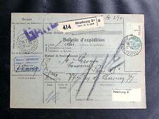 FRANCE COLIS POSTAUX : 1927 ALSACE LORRAINE MERSON 2 FRS SUR BULLETIN EXPEDITION