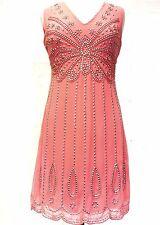 NUOVO corallo 1920's Gatsby pienamente Impreziosito Shift Dress TG 18
