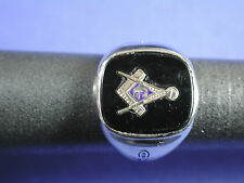 Vintage Men's 10K White Gold Freemason Ring Size 8.25 Marked