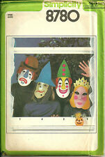 Simplicity 8780 Vintage Mask Transfer Costume Pattern Witch Clown Princess Queen