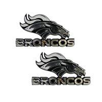 New 2pc NFL Denver Broncos 3-D Chrome Plastic Car Truck Auto Emblem Decal