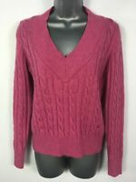 WOMENS BURBERRY LONDON PINK CABLE KNIT LAMBSWOOL V-NECK JUMPER SWEATER 42 UK 14