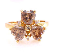 Women Girl Ring Size N Champagne Flower Charm Simulated Diamond 18K Gold Plated