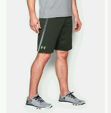 "NWT Under Armour Mens Tech Mesh 10"" Training Shorts 1271940 DrkGreen/Grey Small"