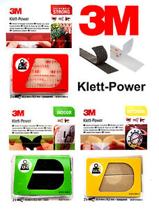 3M Klett Power Set Extra Stark Innen Außen Wasserfest Selbstklebend Klettband