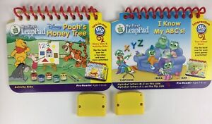 Lot of 2 LeapPad Leap Frog Storybook & Cartridge Two in one flip books Pooh