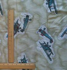 "Shinny Knit Fabric VINTAGE AIRPLANES on Green Lightweight Shirt 59""W x 1½ Yards"