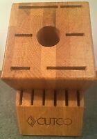 CUTCO 13 Slot Knife Block Wood Honey Oak  Storage USA 1 Sharpener Slot
