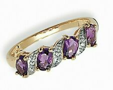 Amethyst and Diamond Eternity Ring Yellow Gold Hallmarked Size J - Q Certificate