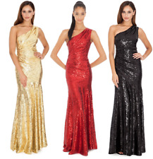 Goddiva Long Sequin One Shoulder Evening Maxi Gown Dress Prom Ball Party 8-14