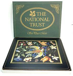 "Vintage The National Trust Place Mats Six Charlecote Bird Black Floral 9x12"""