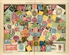 1895 OLD POSTAGE STAMPS Antique Lithograph Print