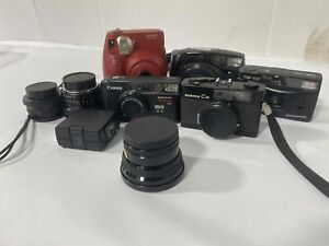 Lot of 5 Film Cameras/Lenses & Minolta 20 Flash