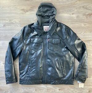 NWT LEVI's Faux Leather Hooded Zip Up Jacket Mens XL