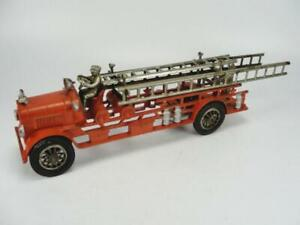 """1920's HUBLEY CAST IRON LARGE 18"""" FIRE DEPT LADDER TRUCK TOY ORIGINAL TOY RARE"""