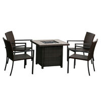 Fire Pit Table W/ 4 Chairs Outdoor Patio Propane Gas Glass Fire Pit  50,000 BTU