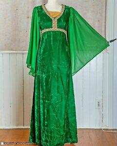 GREEN VELVET RENAISSANCE GOWN Small Vintage Dress Medieval Theater Costume