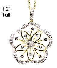 14k Yellow Gold Flower Diamond Pendant .25ct Free Chain