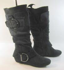 """new Black 1.5""""low hidden wedge heel comfortable knee boot side buckles Size  6"""